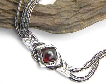 Sterling silver garnet bracelet multi chain bracelet strand braided 925 silver bangle oxidized chains bracelet Etruscan style