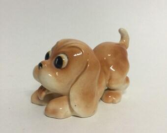 Vintage Kitsch Puppy Figurine, Big Eyed Dog