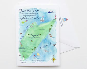 Destination Wedding Save The Date, Watercolor Map Save The Date, Save The Date Cards, Beach Wedding, Cozumel Mexico