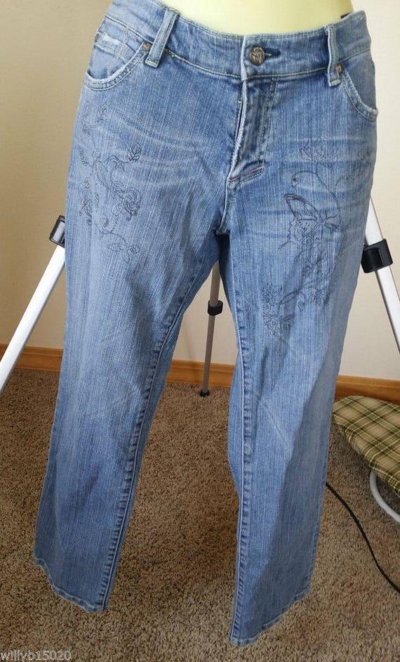 womens painted jeans pants size 9 Medium blue jeans, vintage jeans 30 x 26 flower butterfly 90s denim clothing
