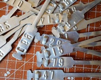 Numbered Aluminum Tags set of 10 Bird Leg Tags