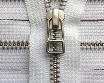 YKK metal zippers with Silver (Nickel) finish and DHR wire style pull-closed bottom- (5) pieces - White Color 501- 9 or 12 inches