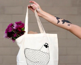 Chicken Tote Bag For Her, Gifts for Her, Birthday Gift, Library Bag, Tote Grocery Bag, Farmers Market Tote, Reusable Bag, Hen Tote Bag