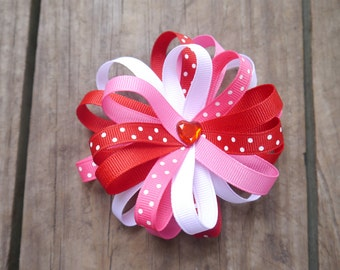 Valentine's Loopy Hair Bow; Red, Pink, & White; Valentine Heart Hair Clip