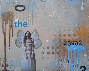 Whoever You Are- original art fine art square foot art mixed media art painting collage gold blue