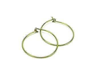 Niobium Earrings Medium Hoops Gold Hoop Earrings, Yellow Gold Color Niobium Hoop Earrings for Sensitive Ears, Hypoallergenic Niobium Jewelry