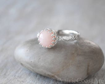 Pink Opal Ring in Sterling Silver - Handcrafted Artisan Ring  -  Natural Pink Opal Ring - Opal Gemstone - Pink Ring October Birthstone