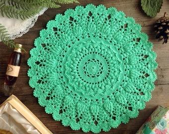 Doily Crochet doily green doily Lace doily Crochet table topper