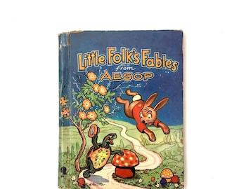 Aesop Fables Illustrations - Vintage Children's Book Illustrations - Fables for Kids - Literary Nursery Decor - Little Folks Fables Kolliker