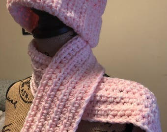 Pink and white girl's Pom Pom hat and fringed scarf set