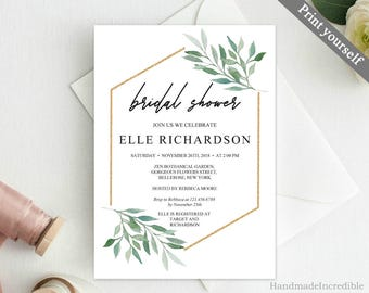Eucalyptus and Gold Bridal Shower Invitation Template. Printable Floral Bridal Shower Invitation. Greenery Gold Modern Calligraphy Download