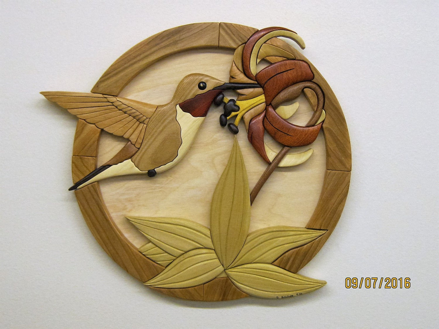 HUMMINGBIRD wood carved wall decor intarsia art by