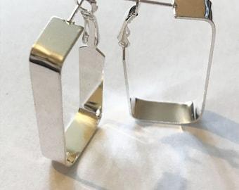 Striking Rectangle Silver Earrings
