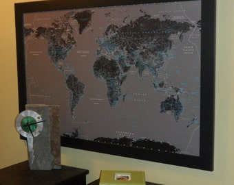 Modern Push Pin Travel Map With Pins And Satin Black Frame - World travel map with pins and frame