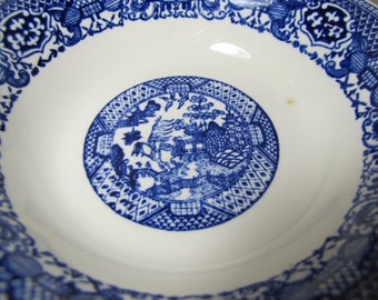 """Two (2) Unmarked """"Blue Willow"""" Cereal Bowls - Blue and White"""
