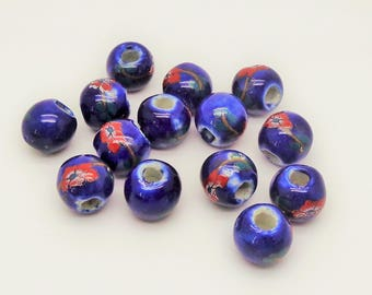 """13 beads """"0023 set"""" blue with flower"""