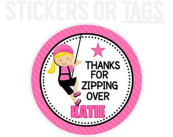 Zip Line Birthday Stickers, Favor Tags, Happy Birthday Stickers, Gift Tag, Favor Tag, Printable Favor Tags :No.329
