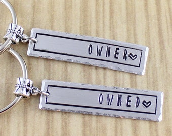 Set Of 2 Owner and Owned Keychains - BDSM Key Chains - Master and Slave Gift - BDSM Fetish Key Rings - Hand Stamped Kinky Keychains - SRA 67
