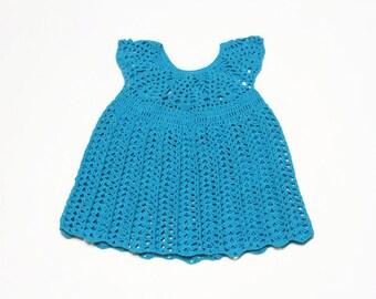 Crocheted baby dress Cotton summer baby dress 3-6 month Light blue toddler dress Newborn blue lace dress Infant dress Gift for newborn