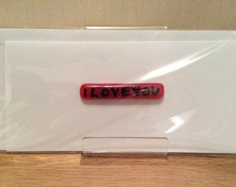 I love you, Birthday card, Personalised fused glass card