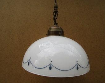 Art deco white glass lamp, antique wall lamp, ceiling lamp, retro lamp vintage lamp, unique cool