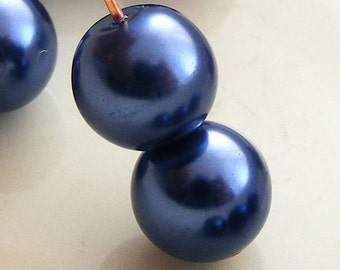 Glass Pearl Beads 8mm Round Navy Blue (Qty 16) Z-P8R-NB