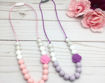 KIDS Silicone Teething Necklace | Mini Rose Teething Necklace | Girl Silicone Chew Necklace | Kid Sensory Necklace | Biting Fidget Necklace