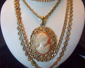 Crown Trifari Victorian Young Woman Cameo Pendant Four Strand Gold Plate Vintage Necklace