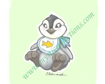Baby Penguin Myxie Pal Art Print