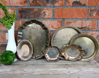 6 Vintage Silver Trays - Silver Plated - Antique Silver - Tarnished Silver -Wall Gallery -Mantel Decor - Farmhouse Decor- Old Bowls -Platter