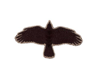 Black Flying Crow Odin Vikings Raven Iron-On Patch