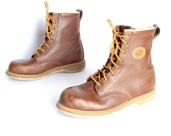 men's size 8 brown COMBAT leather 90s mid calf work boots USA