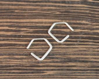 Small Pentagon Threader Hoop Earrings - 925 Sterling Silver - 18 gauge