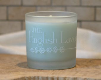 Lavender & Sage Essential Oil Soy Wax Candle in Frosted Glass