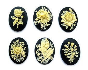 6 Different Flowers Ivory Color on Black 40mm x 30mm Resin CAMEOS LOT B Floral Bouquet Rose Flower Lily of Valley to make Costume Jewelry
