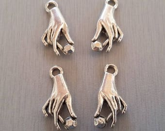 Set of 2 handmade silver color charms