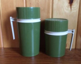 Thermos Vacuum Jar - Vintage Thermos - 1970's Thermos - Avocado Green Thermos - Soup Thermos - Insulated Thermos