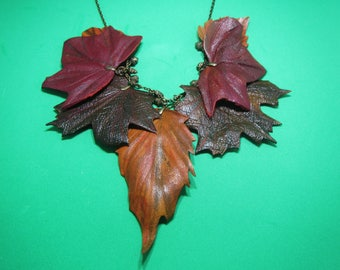 Autumn necklace, autumn leaves necklace, leather leaves necklace, leather Autumn leaves necklace