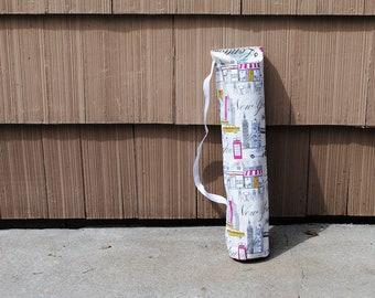 Yoga Mat Tote Bag Cityscape New York London Paris Cream Cotton Twill