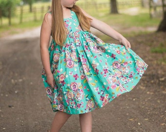 Mint Green Floral Dress, Bohemian, Boho, Hipster, Girls Clothing, Summer Dress, Spring Clothing, Easter Dress