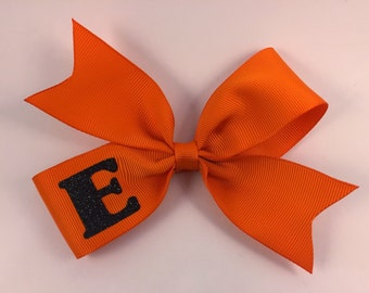 Personalized orange and black hair bow, single layer hair bow, black and orange hair bow, initial hair bow