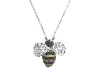 Jewelry, Necklaces, Bee Necklace, Bumble Bee Necklace, Silver Necklace, Bee Necklace, Bee Jewelry, Queen Bee Jewelry, Layering Necklace