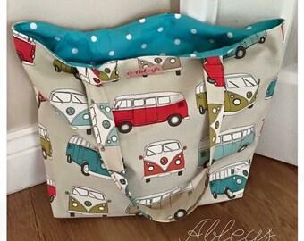 Large beach bag, campervan bag, tote bag, shopping bag, campervans