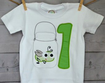 Personalized Birthday Jar with Big Eyed Bug Firefly Grasshopper Applique Shirt or bodysuit Boy or Girl