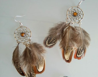 DreamCatcher Dreamcatcher with feather and Brown rhinestone earrings