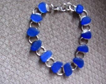 Sea Glass Bracelet, Beach Glass Bracelet, Cobalt Blue Sea Glass Beach Glass bracelet
