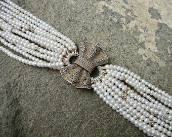 Theodor Fahrner Jewelry,Brooch Bracelet,Repurposed Jewelry,White Pearl Bracelet,Pearl Jewelry,Art Deco Brooch Bracelet,Fahrner Brooch