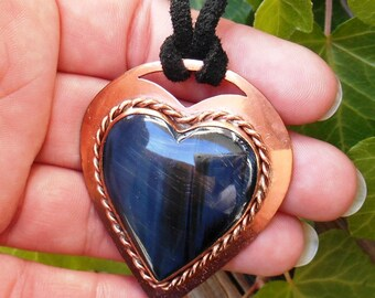 Stone Heart Necklace, Blue Tiger Eye Jewelry, Large Heart Pendant, Copper Jewelry, One Of A Kind, Ready To Ship, Unique Gift For Her, Boho