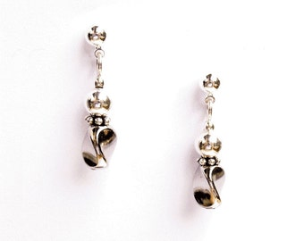 Silver Swirl Earrings - Classic - Minimalist - on Ear Posts or Ear Wires