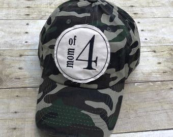 Mom of Four Embroidered Raggy Patch Solid Camo Baseball Cap Hat